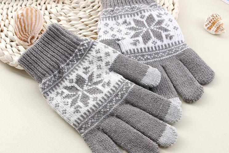 Перчатки для сенсорных экранов Touch Gloves Snowflake gray-white