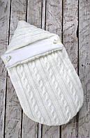 Вязанный конверт-кокон, молочный на трикотаже, фото 1
