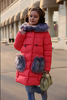 Зимнее пальто на девочку Полианна коралл