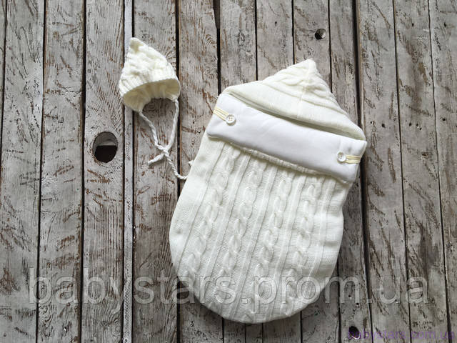 конверт-кокон с вязанной шапочкой на трикотаже для малыша