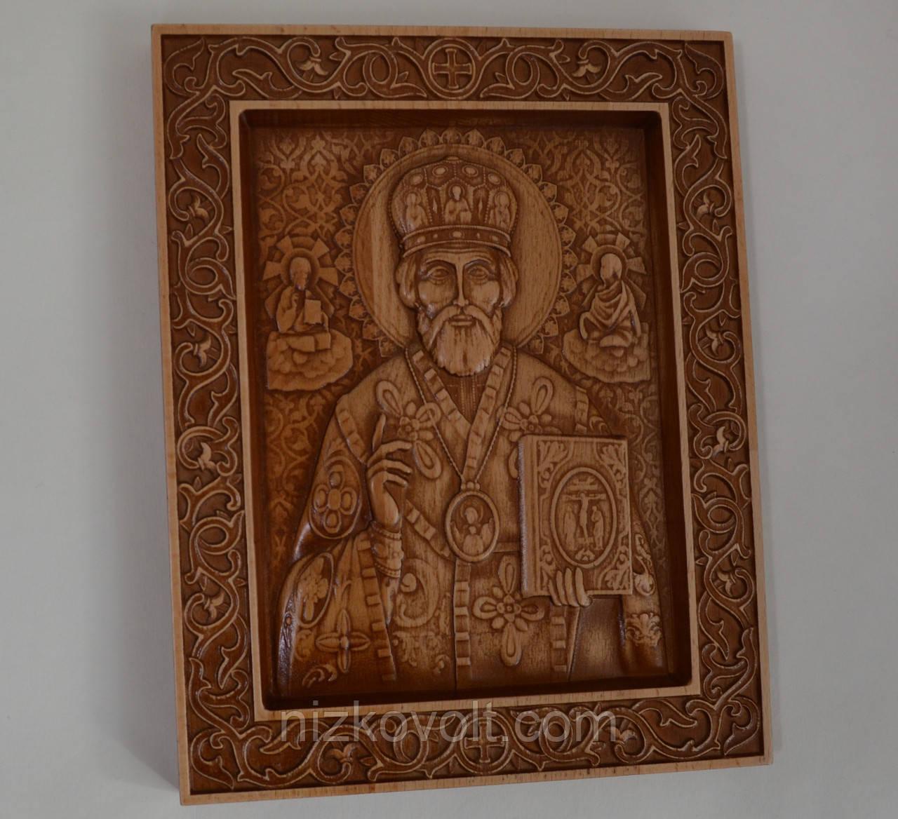 Деревянная икона Николая Чудотворца с резьбой 200*225*18 мм
