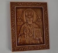 Дерев'яна ікона Миколи Чудотворця з різьбою 200*225*18 мм, фото 1