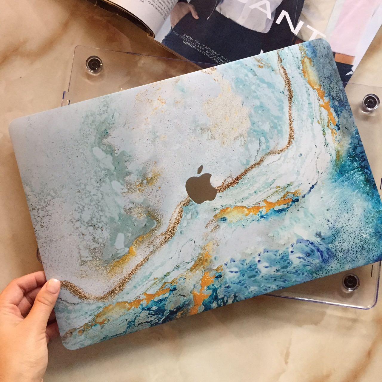 """Дизайнерский чехол с голубым узором для MacBook Air 13"""""""