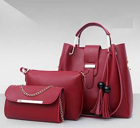 Набор женских сумок 3 в 1 (шоппер, косметичка и клатч) Viva vine red