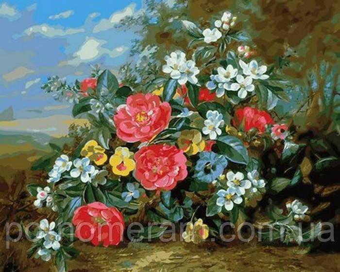 Раскраска для взрослых Пионы и белые цветы (MR-Q2159) 40 х ...