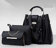 Набор женских сумок 3 в 1 (шоппер, косметичка и клатч) Viva black
