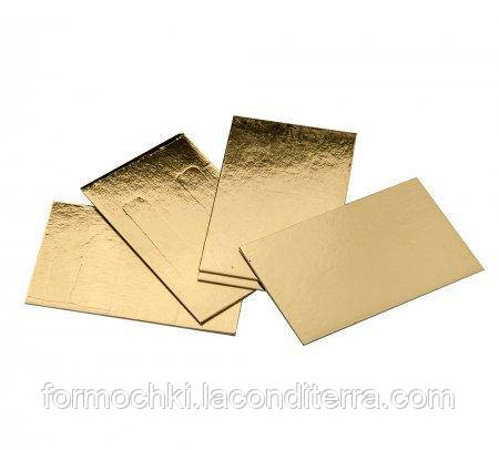 Підкладки під торт прямокутні Уа 20*30 двосторонні (золото-срібло, 20 на 30 см)