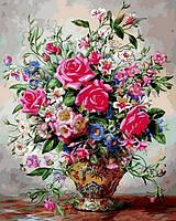Картина по номерам Букет роз и полевых цветов (VP1050) 40 х 50 см DIY Babylon