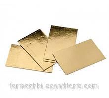 Подложки под торт прямоугольные Уa 3,5*10 двусторонние (золото-серебро, 3,5 на 10 см)
