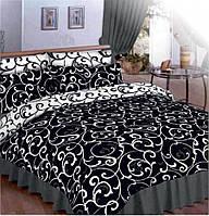 """Комплект постельного белья двуспальный евро """"Чёрное и белое""""."""