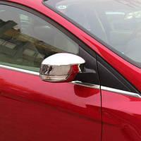 Накладки на зеркала (2 шт, нерж.) - Ford Focus II 2008-2011 гг.