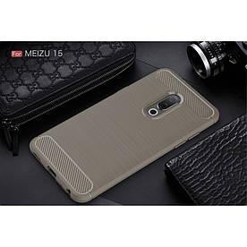 Чехол накладка для Meizu 15 силиконовый, Carbon Fiber, серый
