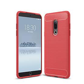 Чехол накладка для Meizu 15 силиконовый, Carbon Fiber, красный