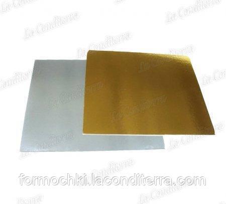 Підкладки під торт квадратні Уа 40x40 двосторонні (золото-срібло, 40 на 40 см)
