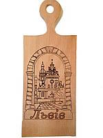 """Доска сувенирная с выжиганием надписи - """"Львов"""" 16*37 см ОПТОМ"""