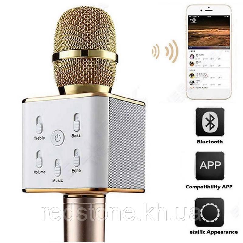 Микрофон караоке bluetooth Q7 Беспроводной Q7 MS USB Динамик+Колонка(цвет золото и красное золото)