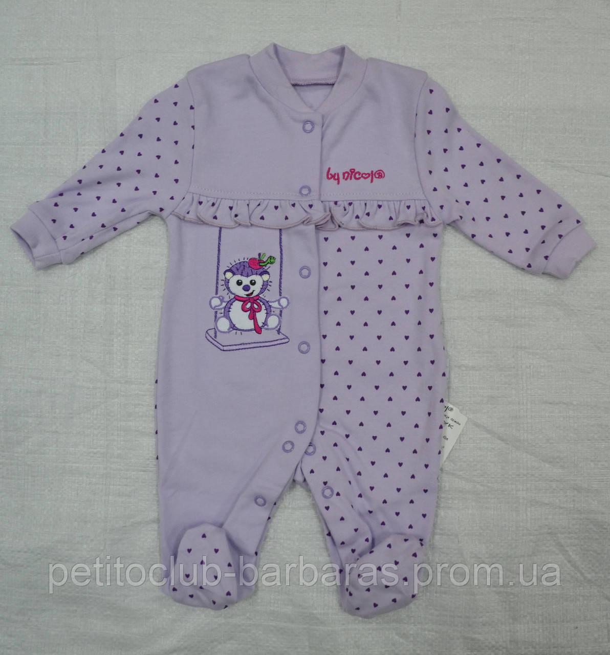 Комбинезон/человечек хлопковый Ежик фиолетовый (Nicol, Польша)