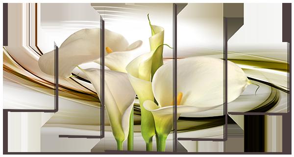 Модульная картина Interno Холст Белые Каллы 140х76см (R739L)