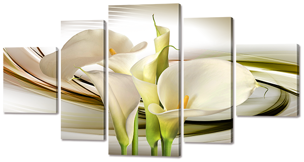 Модульная картина Interno Холст Белые Каллы 185х101см (R739XXL)