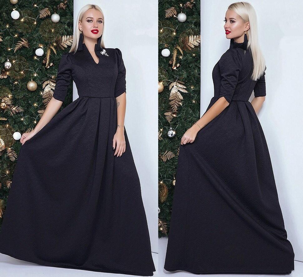 Вечернее платье в пол из 3D трикотажа