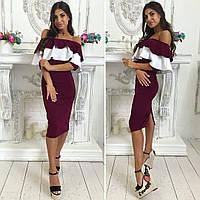 Платье женское с двойным воланом, только бордо 42р,креп дайвинг