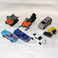 Комплект 7 металлических машинок, б/у гонка, каток, самосвал, снегоход