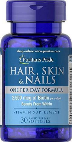 Puritan's PrideАктивное долголетие Hair, Skin & Nails One Per Day Formula 30 softgels