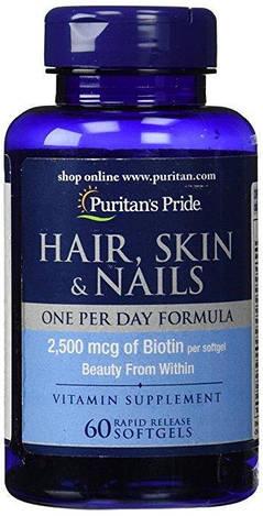 Puritan's PrideАктивное долголетие Hair, Skin & Nails One Per Day Formula 60 softgels