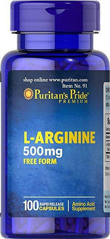 Puritan's Pride Аргинин L-Arginine 500 mg 100 caps