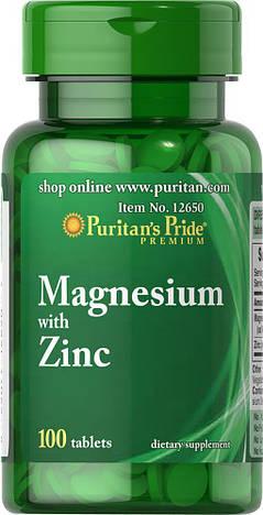 Puritan's PrideМагний ЦинкMagnesium with Zinc100 tablets
