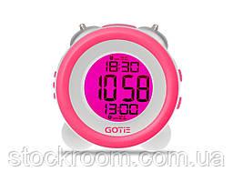 Электронные часы розовые GOTIE GBE-200 R с механическим будильником