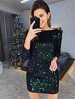 Яркое женское платье - пайетки
