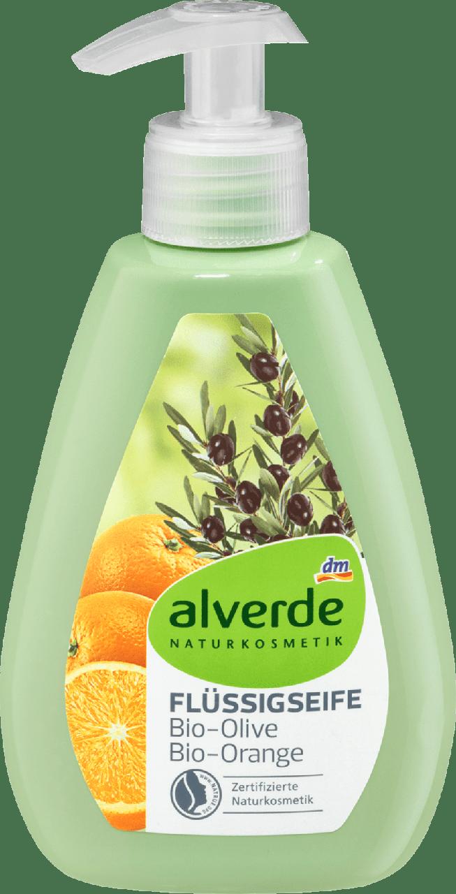 Органическое жидкое крем-мыло alverde NATURKOSMETIK Bio-Olive-Orange, 300 мл.