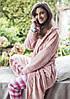Розовый плюшевый халат с цветочной текстурой LGL 148 Key