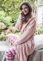 Розовый плюшевый халат с цветочной текстурой LGL 148 Key, фото 1