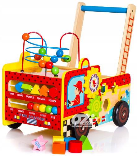 Деревянные развивающие ходунки Пожарная машина + сортер