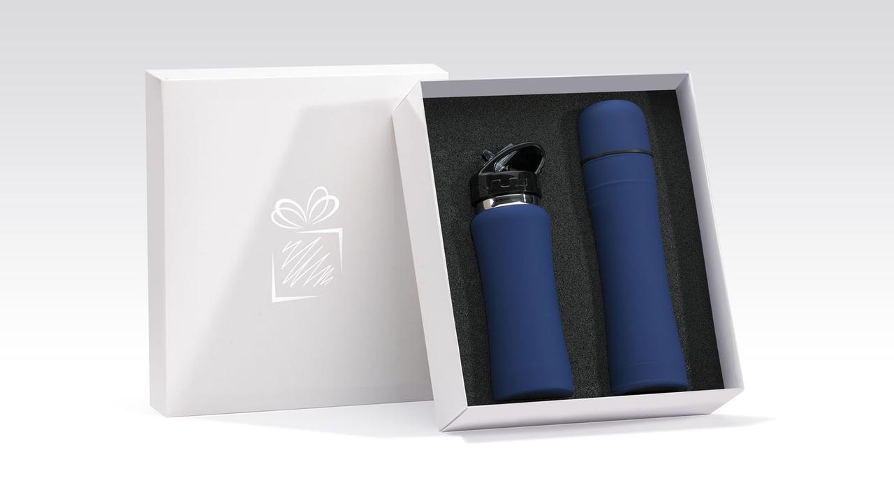 Подарочный набор (спортивная бутылка+термос) матовый, синий