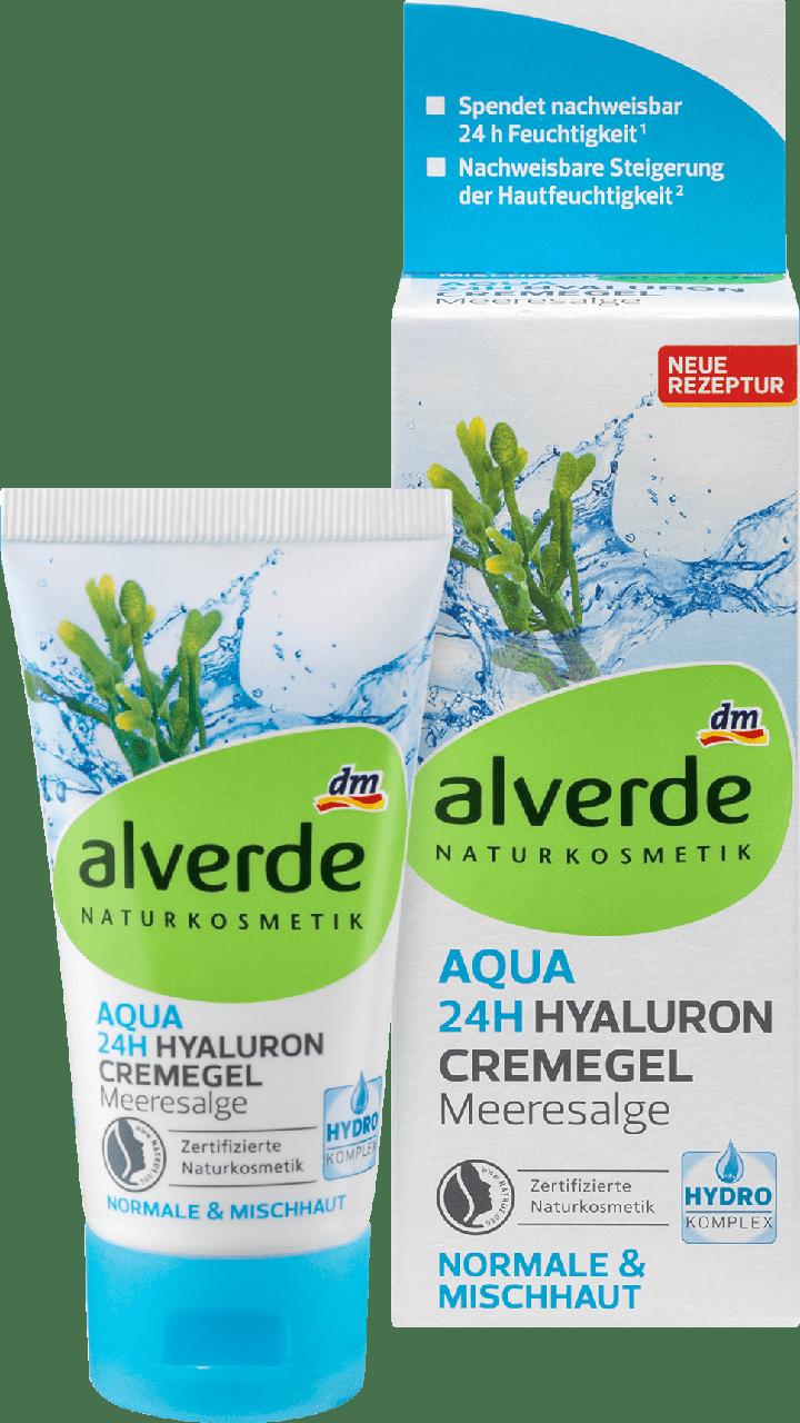 Органический, дневной крем-гель для лица alverde NATURKOSMETIK Aqua 24h Hyaluron Meeresalge, 50 ml.