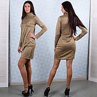 Женское трикотажное платье-водолазка желтого цвета Winter D105-5 S Размер  42-44 4913fec339c