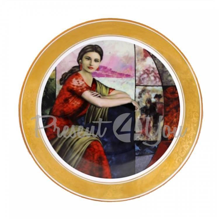 Декоративная тарелка «Леди в красном» Gloria, d-25 см (264-2502D)