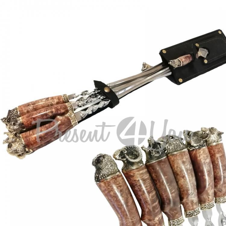 Набор для шашлыка в кожаном колчане «Звери» с ножом и вилкой, 70х28 см, 25 см (187-2011)