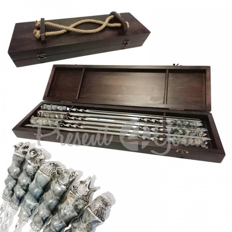 Набор для шашлыка в деревянном кейс «Звери» 6 шт., 75х21х8,5 см (187-2009)