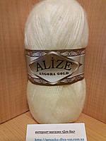 Зимняя пряжа (20% шерсть, 80% акрил; 100г/550м) Alize Angora Gold 01(кремовый)