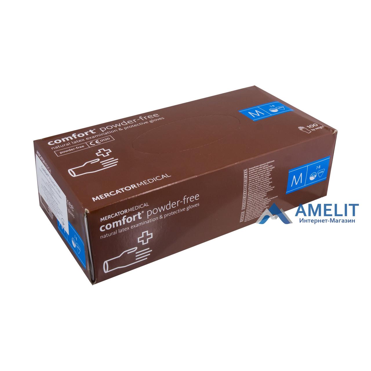 Перчатки латексные Комфорт ПФ (Comfort PF, Mercator Medical), бежевые, размер «M», 50пар/упак.