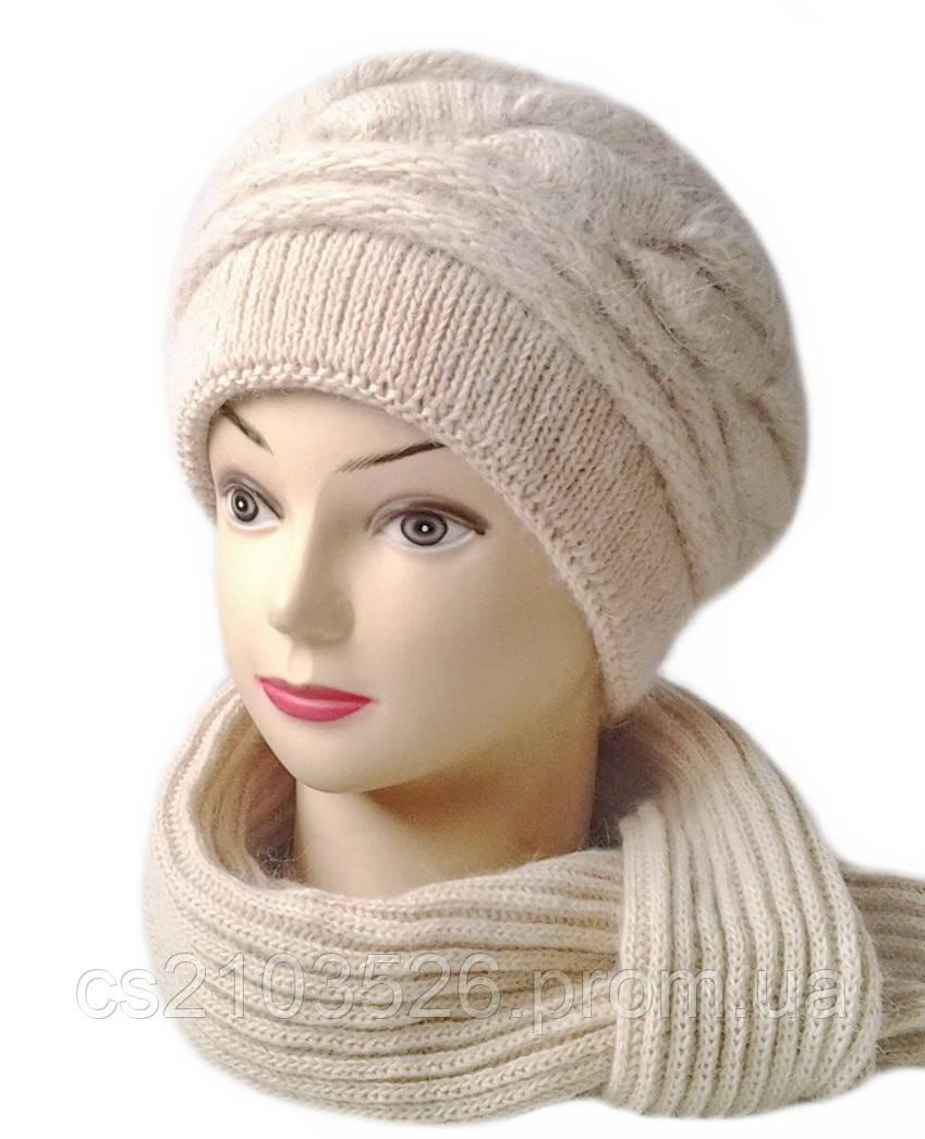 Женская вязаная шапка и шарф комплект Катрина бежевого цвета