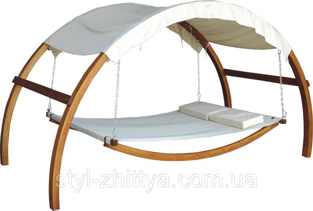 Ліжко садове підвісне з дашком. Гамак сімейний