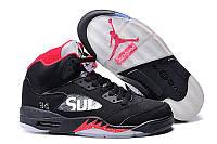 Мужские кроссовки Jordan Retro 5 Supreme Black Реплика , фото 1