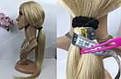 Парик блонд длинный из натуральных волос на сетке, имитация кожи головы, фото 6