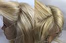 Парик блонд длинный из натуральных волос на сетке, имитация кожи головы, фото 8