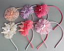 Обручи для волос с коронами и фатином цветные 12 шт/уп, фото 3